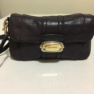 B. Makowsky Purple Leather Clutch with Strap